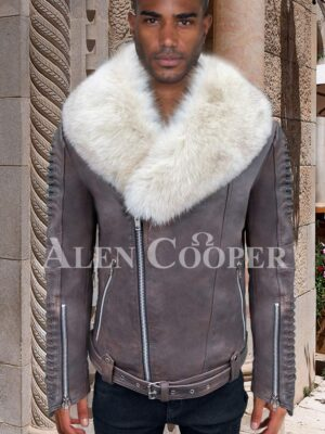 White organic fur collar real leather full sleeve quilted jacket for men in Grey