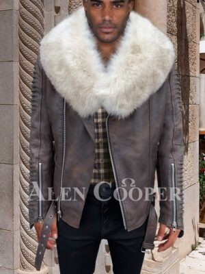 White organic fur collar real leather full sleeve quilted jacket for mens