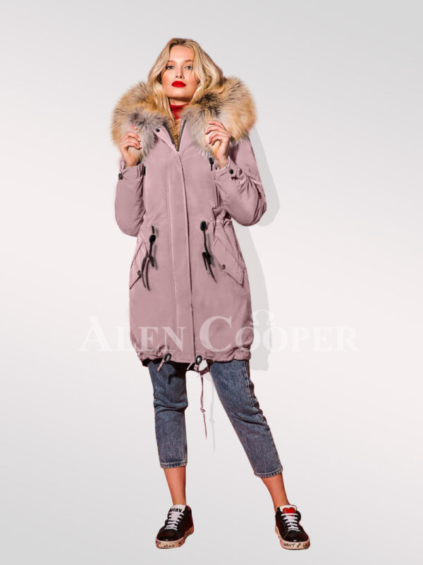 Classy and feminine hybrid pink fur parka convertibles for women