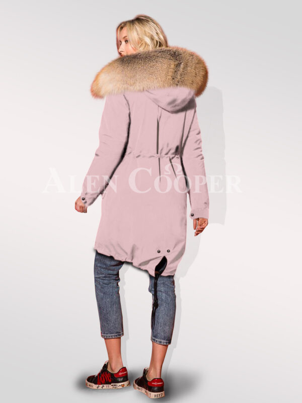 Classy and feminine hybrid pink fur parka convertibles for women Back view
