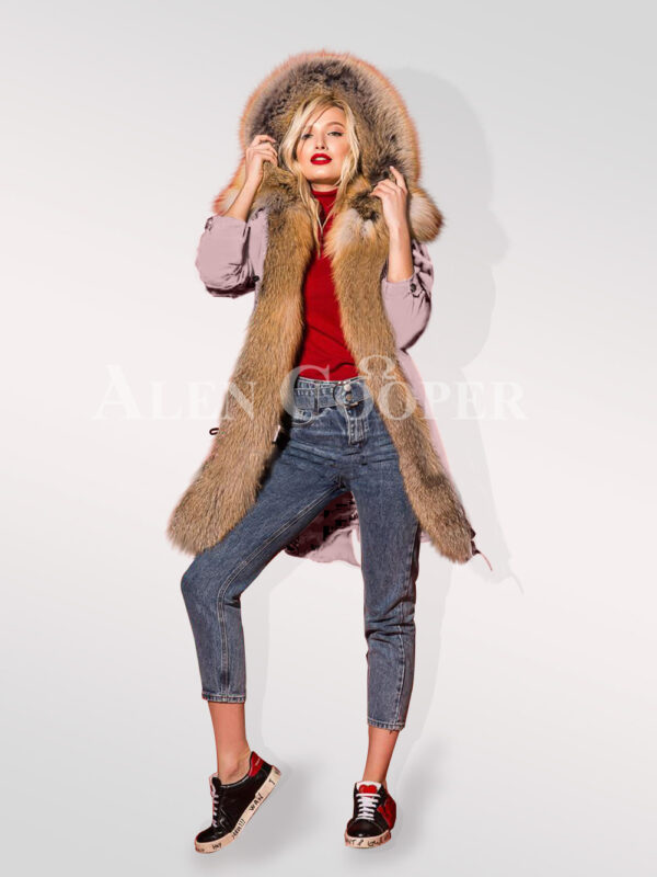 Classy and feminine hybrid pink fur parka convertibles for women Stand view