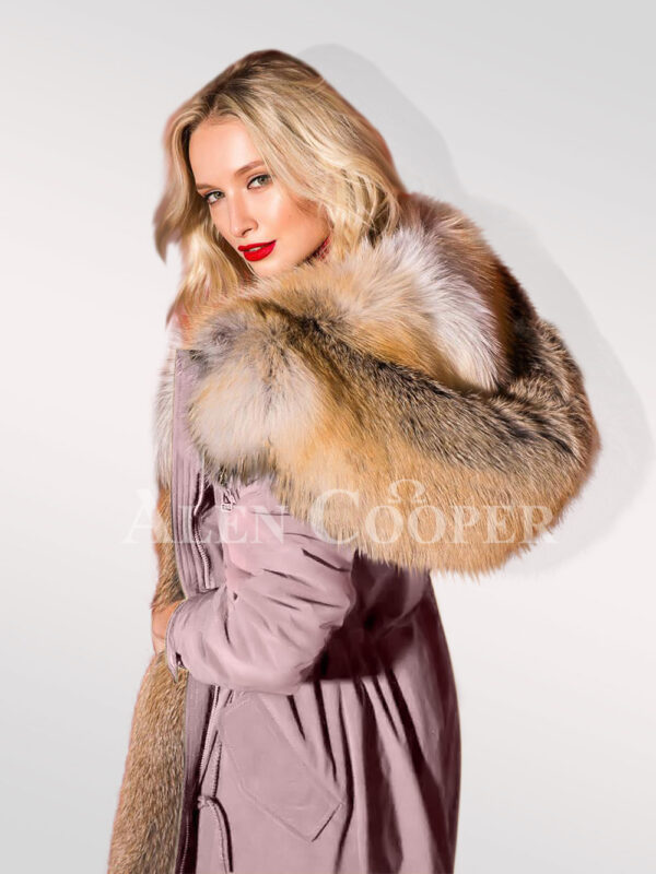 Classy and feminine hybrid pink fur parka convertibles for women close side view