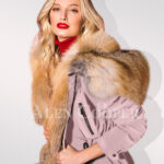 Classy and feminine hybrid pink fur parka convertibles for women close view