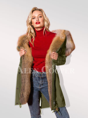Define your classy fashion statement with hybrid green fur parka convertibles