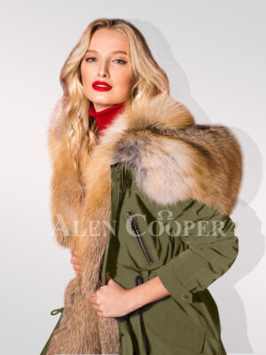 Define your classy fashion statement with hybrid green fur parka convertibles close side view