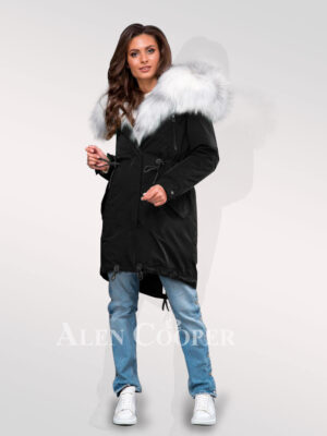 Fascinating collection of Arctic fox fur black parka convertibles for divas