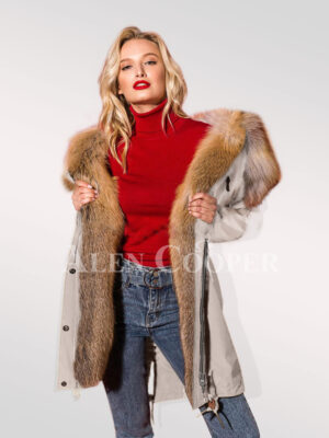 Hybrid beige fur parka convertibles to showcase the woman you're new
