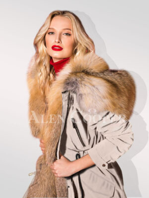 Hybrid beige fur parka convertibles to showcase the woman you're new side views