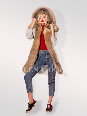 Hybrid beige fur parka convertibles to showcase the woman you're new stand side view