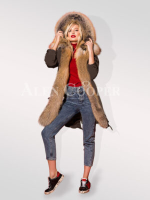Hybrid coffee fur parka convertibles exclusively for modern women views