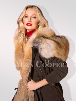 Hybrid coffee fur parka convertibles exclusively modern women!