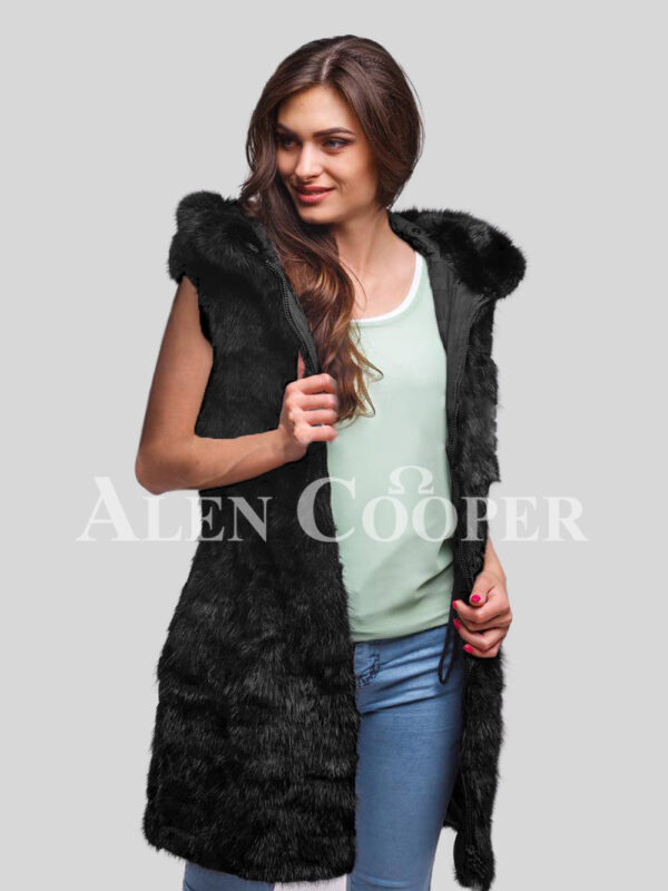 Hybrid fur parka convertibles Black fox section