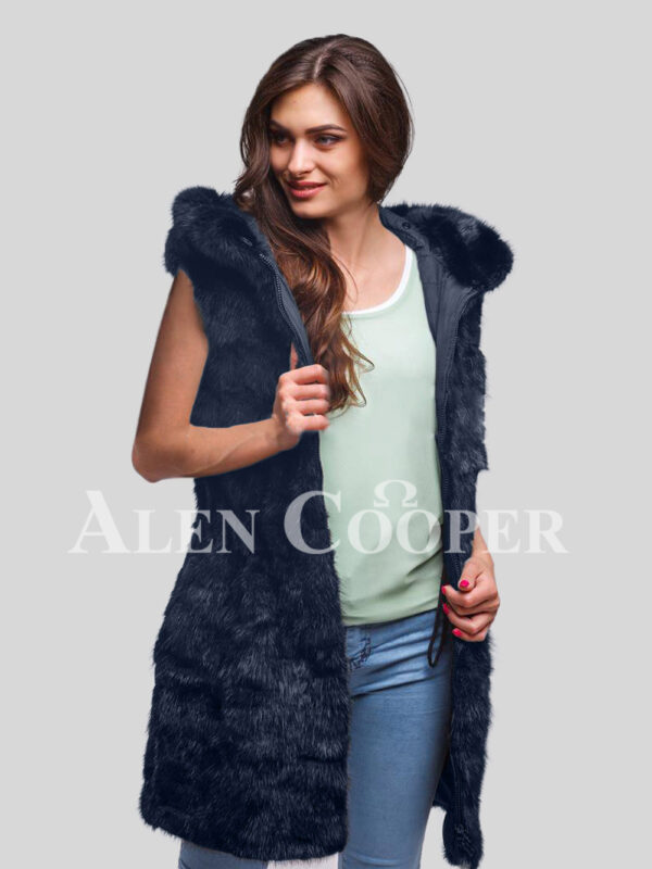 Hybrid fur parka convertibles Navy fox section
