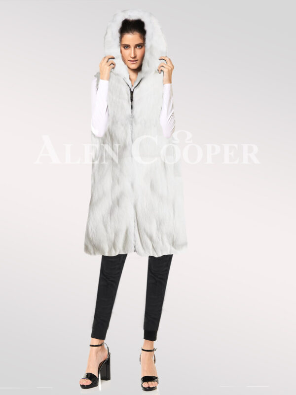 Hybrid fur parka convertibles rabbit plate White