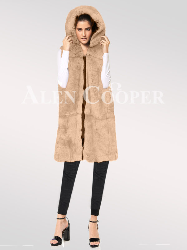 Hybrid-fur-parka-convertibles-rabbit-plate-beige new