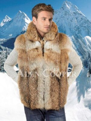 Men's multi-colornatural silky raccoon fur sleeveless vest with protective collar