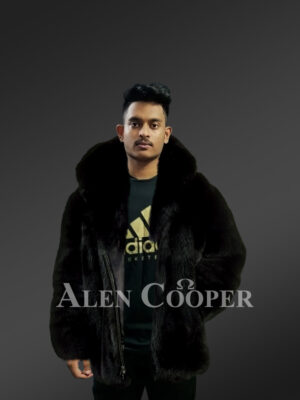 Men's over-sized soft and voluminous real fox fur winter coat in black new