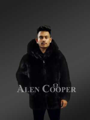 Men's over-sized soft and voluminous real fox fur winter coat in black new views