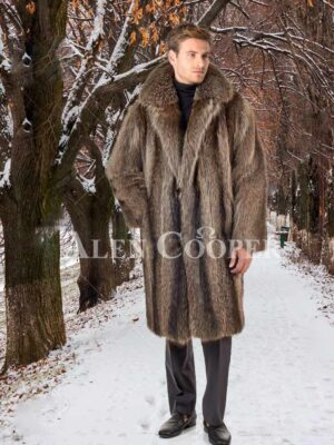 Men's protective wing collar super warm real raccoon fur pea coat stand view