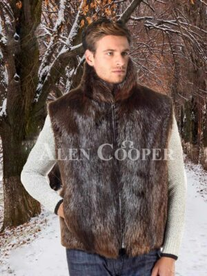 Men's short Ethan Beaver sleeveless fur coat with protective collar