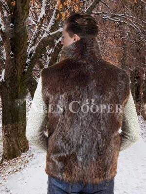 Men's short Ethan Beaver sleeveless fur coat with protective collar back side view