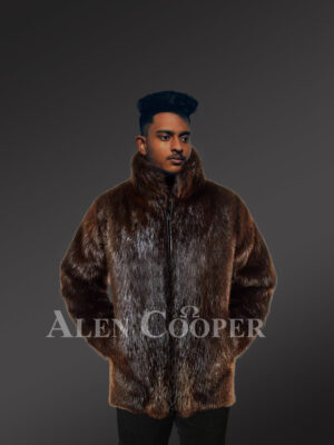 Men's silky Beaver fur mid-length winter coat with protective collar new view