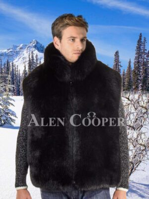 Men's sleeveless real warm and super soft fox fur winter outerwear in black
