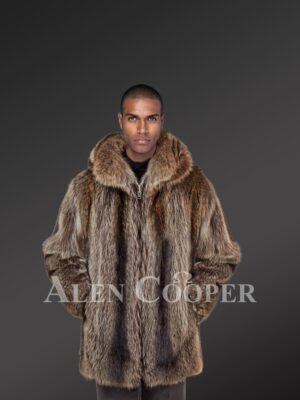 Men mid-length casual real raccoon fur winter outerwear with protective collar new