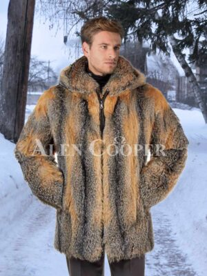 Men multi-color large foldable collar real fox fur mid-length coat
