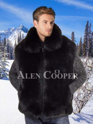 Men sleeveless real warm and super soft fox fur winter outerwear in black