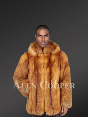 Men's mid-length dream-soft real fox fur coat with superior warmth new