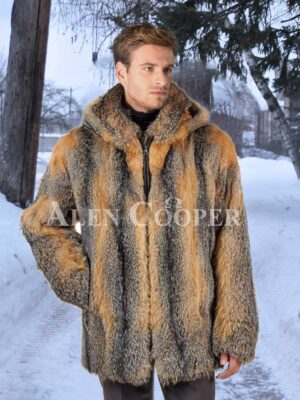 Mens multi-color large foldable collar real fox fur mid-length coat