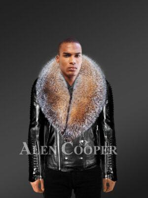 New All-occasion Detachable Scandinavian crystal fox fur Biker Jackets for men