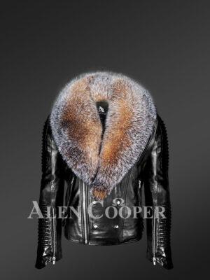New All-occasion Detachable Scandinavian crystal fox fur Biker Jackets for men view