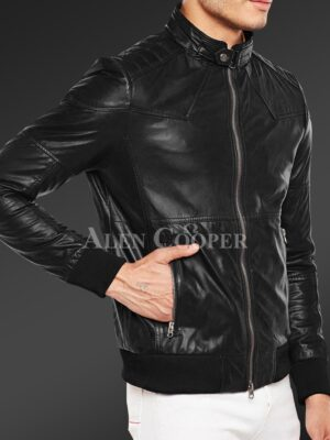 New Quilted slim fit real leather jacket for men in black