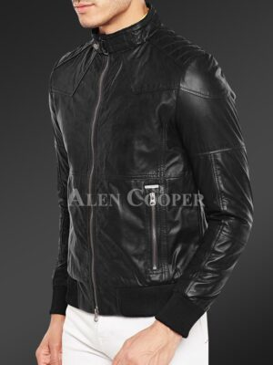 New Quilted slim fit real leather jacket for men in black Side back view