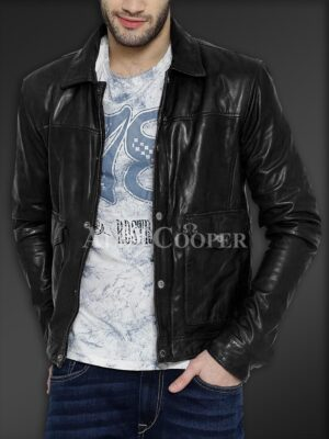 New Real leather winter jacket with traditional snap pockets for men