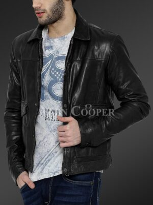 New Real leather winter jacket with traditional snap pockets for men view