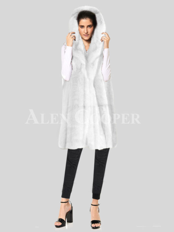 Redefine your pride and vanity with hybrid black fur parka convertible White Mink Plate