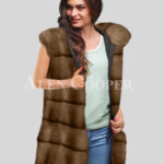 Redefine your pride and vanity with hybrid black fur parka convertible in Mink Paragrapgh Light Brown