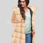 Redefine your pride and vanity with hybrid black fur parka convertible in Mink Paragrapgh beige