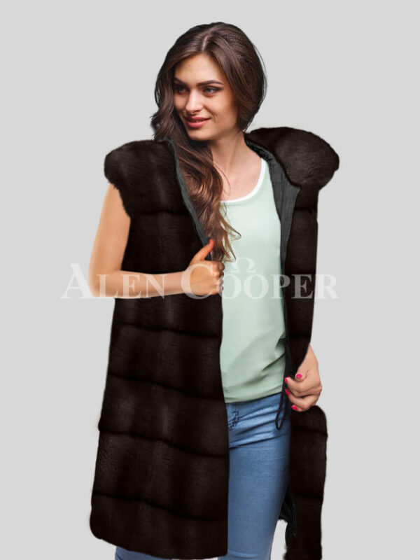 Redefine your pride and vanity with hybrid black fur parka convertible in Mink Paragrapgh coffee