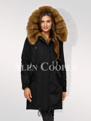 Reinvent your charm with women's Canadian sable fur hybrid black parka convertibles