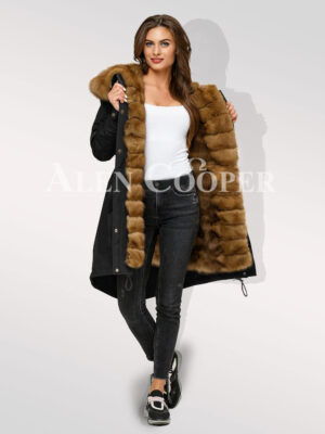 Reinvent your charm with womens Canadian sable fur hybrid black parka convertibles