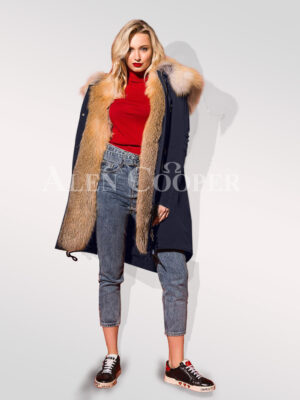 Stand alone in the crowd with Hybrid navy fur parka convertibles women