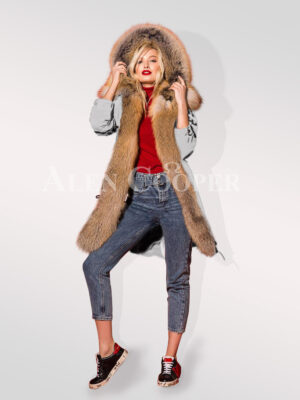 Turn all eyes on you with hybrid grey fur parka convertibles view