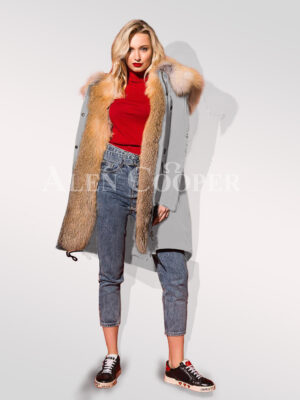 Turn all eyes on you with hybrid grey fur parka convertibles views