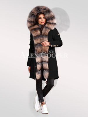 Ultimate elegance with blue frost fox fur women hybrid black parka convertibles