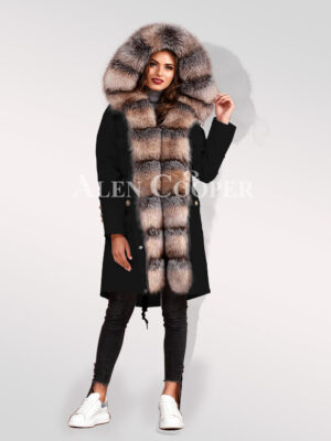 Ultimate elegance with blue frost fox fur womens hybrid black parka convertibles