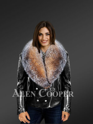 new Scandinavian crystal fox detachable fur jacket for women